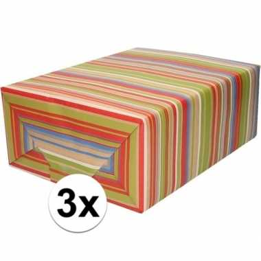 Feestwinkel | 3x bruin cadeaupapier gekleurde strepen 70 x 200 cm mor