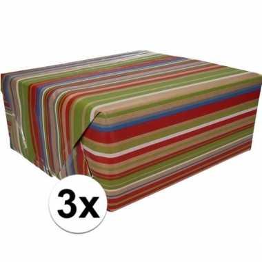 Feestwinkel | 3x bruin cadeaupapier gekleurde strepen print 70 x 200