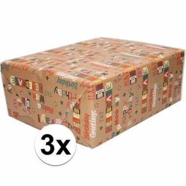 Feestwinkel | 3x bruin cadeaupapier happy birthday tekst print 70 x 2