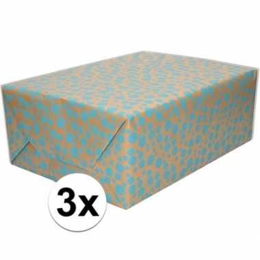 Feestwinkel | 3x bruin cadeaupapier met blauwe stippen print 70 x 200