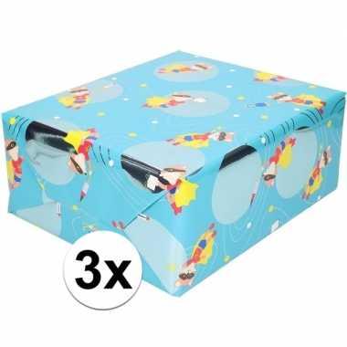 Feestwinkel | 3x cadeaupapier blauw met vos met masker 200 cm morgen