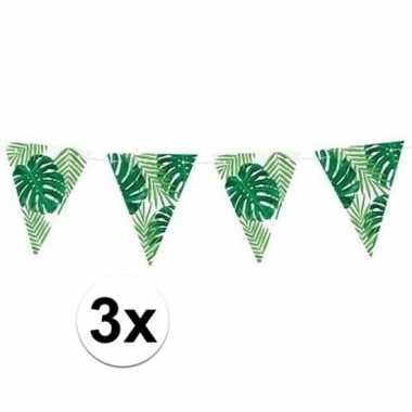 Feestwinkel | 3x feest vlaggenlijnen met bladeren 150 cm morgen amste