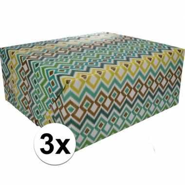 Feestwinkel | 3x gekleurd cadeaupapier 70 x 200 cm type 3 morgen amst