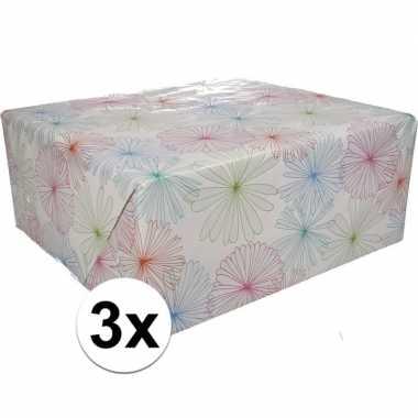 Feestwinkel | 3x gekleurd cadeaupapier met bloemen 70 x 200 cm type 1