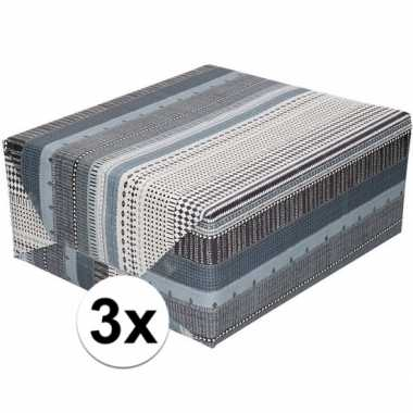 Feestwinkel | 3x gekleurd cadeaupapier met grijs zwart en witte print