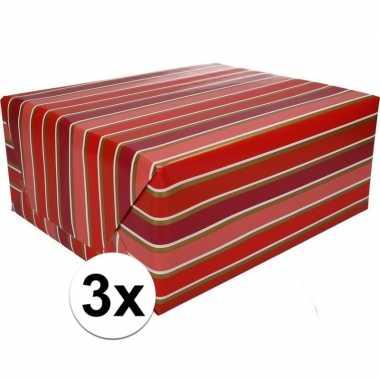Feestwinkel | 3x gekleurd cadeaupapier met strepen 70 x 200 cm type 7