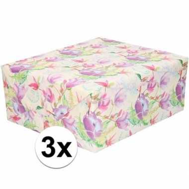 Feestwinkel | 3x gekleurd cadeaupapier met tropische bloemen en vogel