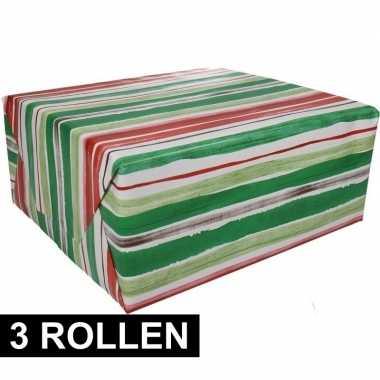 Feestwinkel | 3x gestreept cadeaupapier 70 x 200 cm morgen amsterdam