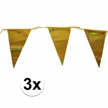 Feestwinkel | 3x gouden vlaggenlijn 3 meter met 12 glimmende gouden v