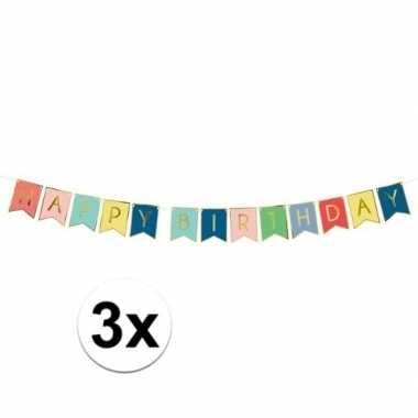 Feestwinkel | 3x happy birthday feest slinger 175 cm morgen amsterdam