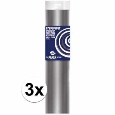 Feestwinkel | 3x hobby crepe papier zilver 250 x 50 cm morgen amsterd