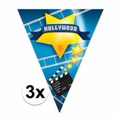 3x hollywood thema vlaggenlijnen hollywood