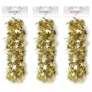 Feestwinkel   3x kerst lametta guirlandes gouden sterren/glinsterend 3,5 x 750cm kerstboom versiering/decoratie morgen amsterdam