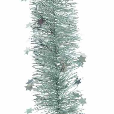 Feestwinkel   3x kerst lametta guirlandes mintgroen sterren/glinstere