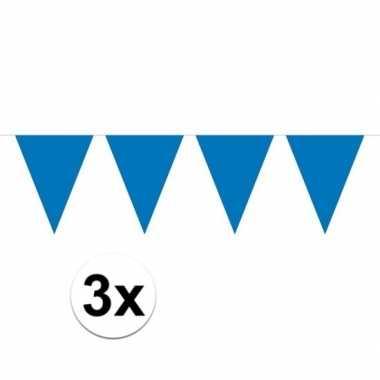 Feestwinkel   3x mini vlaggetjeslijn slingers verjaardag blauw morgen