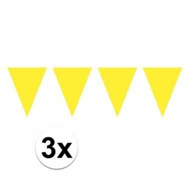 Feestwinkel | 3x mini vlaggetjeslijn slingers verjaardag geel morgen