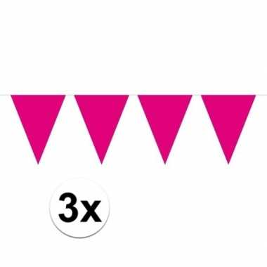 Feestwinkel | 3x mini vlaggetjeslijn slingers verjaardag magenta roze