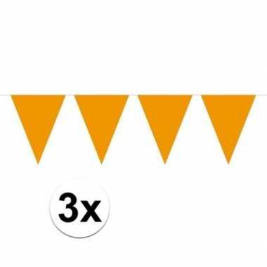 Feestwinkel | 3x mini vlaggetjeslijn slingers verjaardag oranje morge