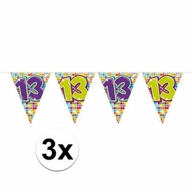 Feestwinkel | 3x mini vlaggetjeslijn slingers verjaardag versiering 1