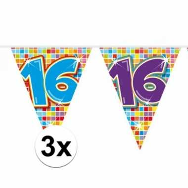 Feestwinkel   3x mini vlaggetjeslijn slingers verjaardag versiering 1