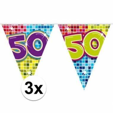 Feestwinkel | 3x mini vlaggetjeslijn slingers verjaardag versiering 5