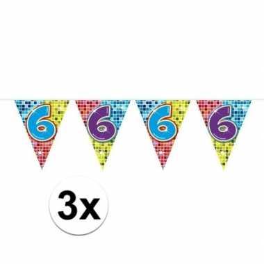 Feestwinkel   3x mini vlaggetjeslijn slingers verjaardag versiering 6