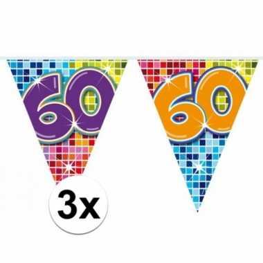 Feestwinkel | 3x mini vlaggetjeslijn slingers verjaardag versiering 6