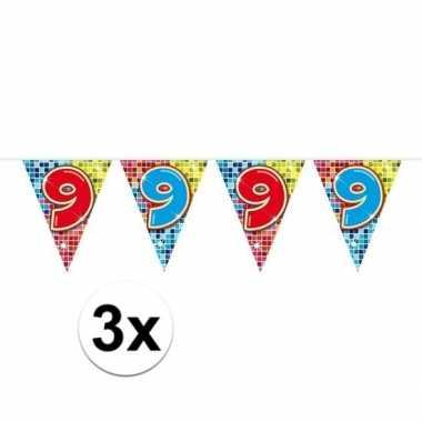 Feestwinkel | 3x mini vlaggetjeslijn slingers verjaardag versiering 9