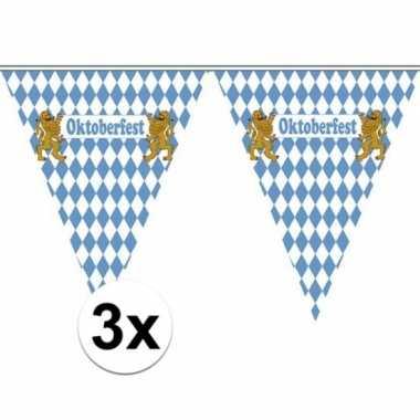 Feestwinkel | 3x oktoberfest slingers vlaggetjes van 5 meter morgen a