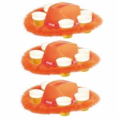 Feestwinkel | 3x oranje bier hoed met bont morgen amsterdam