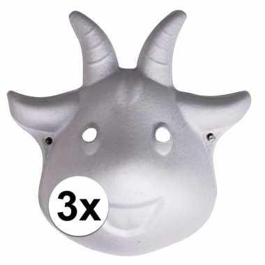 Feestwinkel | 3x papieren geiten masker 22 cm morgen amsterdam