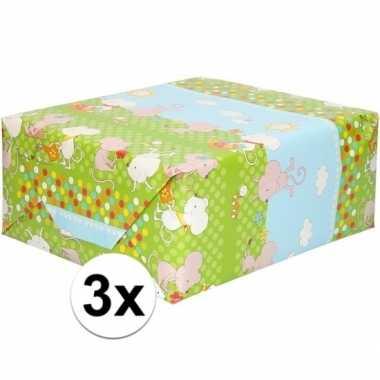 Feestwinkel | 3x rol kinder inpakpapier met muizen print 200 x 70 cm