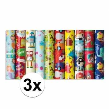 Feestwinkel | 3x rol kinderverjaardag inpakpapier met party print 200