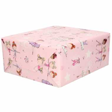 Feestwinkel   3x rol kinderverjaardag inpakpapier roze met ballet danseresjes 200 x 70 cm morgen amsterdam