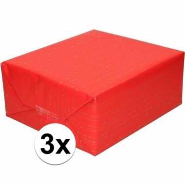 Feestwinkel   3x rood cadeaupapier met gouden lijnen 70 x 200 cm morg