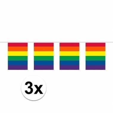 Feestwinkel | 3x stuks vierkante regenboog vlaggenlijnen van 10 meter