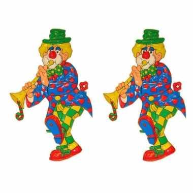 Feestwinkel | 3x stuks wanddecoratie carnaval clown 70 cm morgen amsterdam