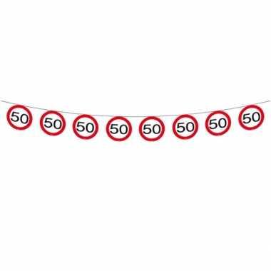 Feestwinkel   3x vlaggenlijn versiering 50 jaar verkeersborden 12 met