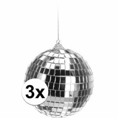Feestwinkel   3x zilveren disco kerstballen 10 cm morgen amsterdam