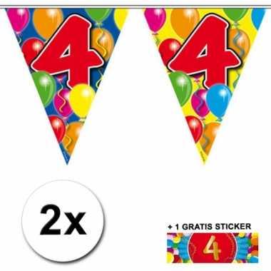 Feestwinkel |  4  jaar vlaggenlijnen 2x met gratis sticker morgen Ams