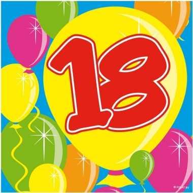 Feestwinkel | 40x achttien/18 jaar feest servetten balloons 25 x 25 c