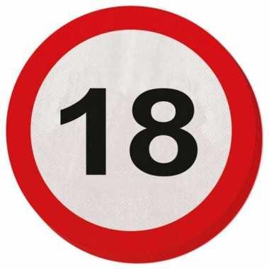 Feestwinkel | 40x achttien/18 jaar feest servetten verkeersbord 33 cm