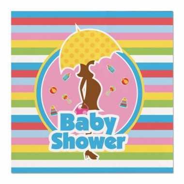 Feestwinkel | 40x babyshower feest servetten gekleurd 25 x 25 cm kind
