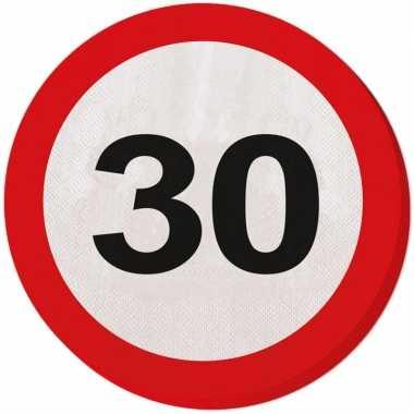 Feestwinkel | 40x dertig/30 jaar feest servetten verkeersbord 33 cm r