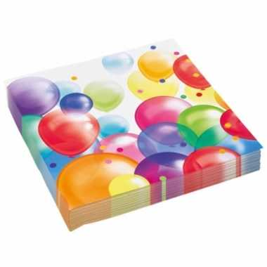 Feestwinkel | 40x feestelijke servetten met ballonnenopdruk papier 33