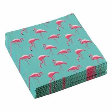 Feestwinkel | 40x flamingo feest servetten 33cm morgen amsterdam