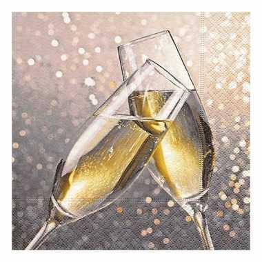 Feestwinkel | 40x oud en nieuw servetten champagne morgen amsterdam