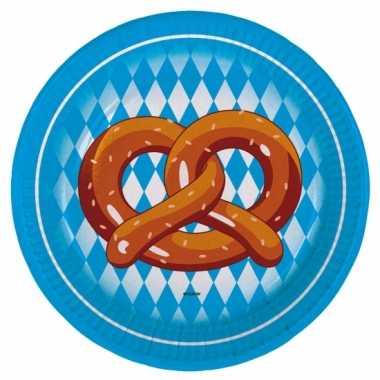 Feestwinkel   40x stuks oktoberfest pretzel thema papieren borden 23 cm morgen amsterdam