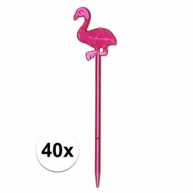 Feestwinkel | 40x tropische versiering flamingo prikkers 40 x 8 cm mo