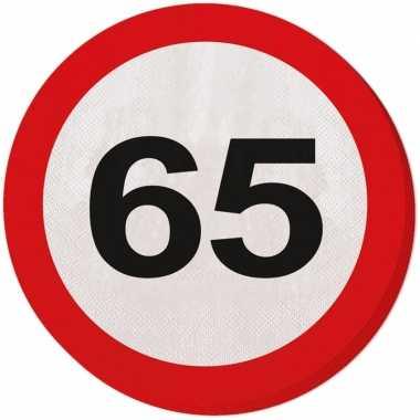 Feestwinkel | 40x vijfenzestig/65 jaar feest servetten verkeersbord 3